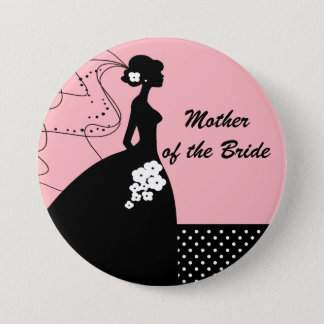 Silhouette-Braut-Mutter des Braut-Knopfes/des Runder Button 7,6 Cm