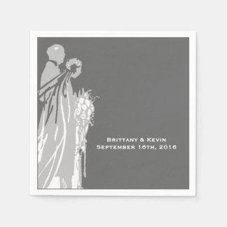 Silhouette-Braut-und Bräutigam-Wedding Papierservietten
