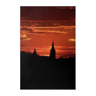 Silhouette der alten Stadt Sibiu Rumänien Acryldruck