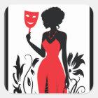 Silhouette der eleganten Frau im roten Kleid mit Quadratischer Aufkleber