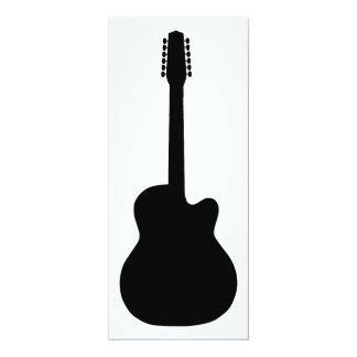 Silhouette der elektrischen Gitarre 10,2 X 23,5 Cm Einladungskarte