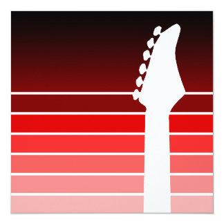 Silhouette der elektrischen Gitarre: Rot Quadratische 13,3 Cm Einladungskarte