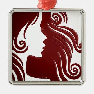 Silhouette der Frau (dunkler rötlicher Quadratisches Silberfarbenes Ornament