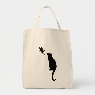 Silhouette der schwarzen Katze und der Fee Tragetasche