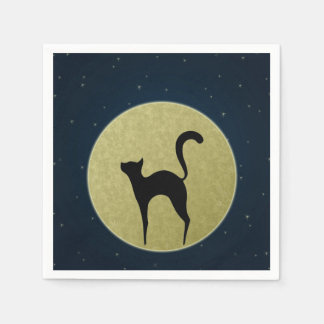 Silhouette der schwarzen Katze und Papierserviette
