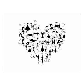 Silhouette der schwarzen Katzen der Liebe I Postkarte
