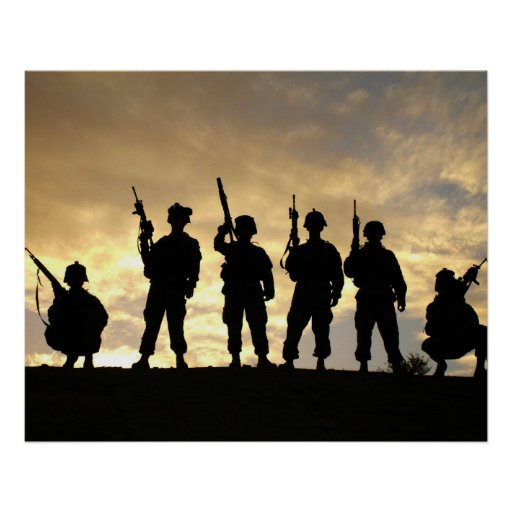 Silhouette der Soldaten in der 101. im Flugzeug Ab Poster