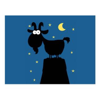 Silhouette der Ziege auf Berg Postkarte