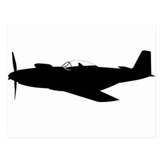 Silhouette des Mustang-P-51 Postkarte