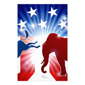 Silhouette-Elefant-kämpfender Esel Briefpapier