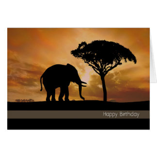 Silhouette-Elefant mit Karte