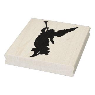 Silhouette-Engel mit Trompetekunst-Briefmarke Gummistempel