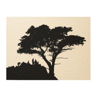 Silhouette-Familien-großer Baum Vintager STAMMBAUM Holzleinwand