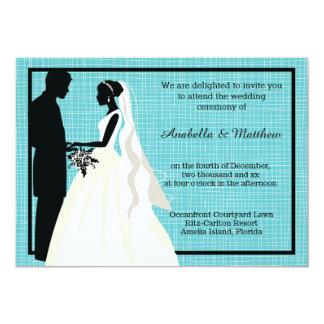 Silhouette-Hochzeits-Paare 12,7 X 17,8 Cm Einladungskarte