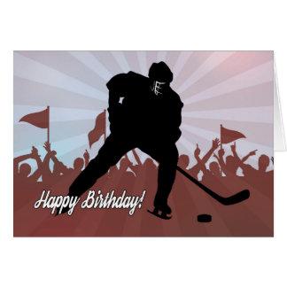 Silhouette-Hockey-Spieler für Geburtstag Karte