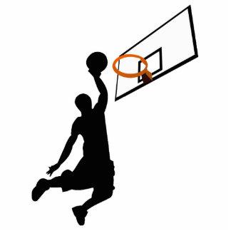 Silhouette-Knall taucht Basketball-Spieler ein Freistehende Fotoskulptur