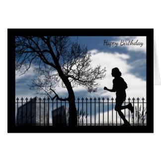 Silhouette-Läufer in der Stadt-Geburtstags-Karte Karte