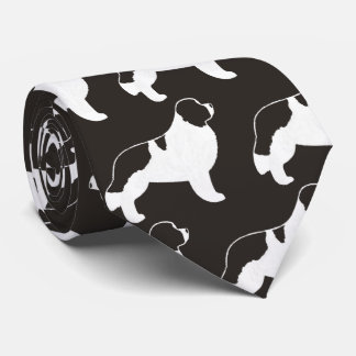 Silhouette-Muster Neufundlands Landseer Bedruckte Krawatten
