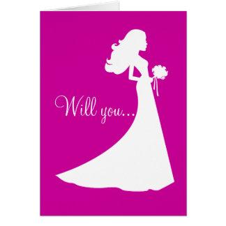 Silhouette sind Sie meine Brautjungfern-Karte Grußkarte