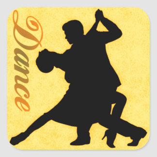 Silhouette-Tanzen-Paare Quadratsticker
