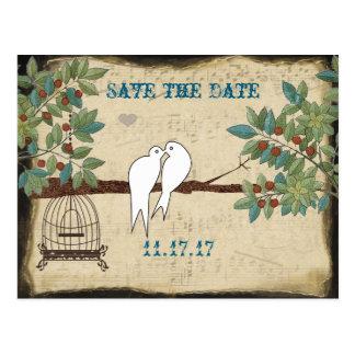 Silhouette-Tauben-Vogel-Käfig Save the Date Postkarte