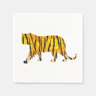 Silhouette-Tiger-Schwarzes und Orange Serviette