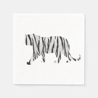 Silhouette-Tiger Schwarzweiss Papierservietten