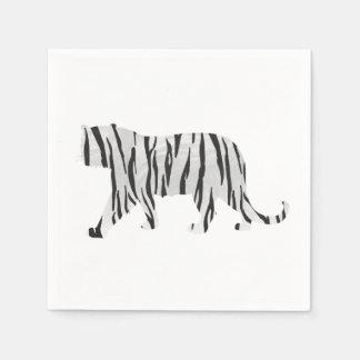 Silhouette-Tiger Schwarzweiss Servietten