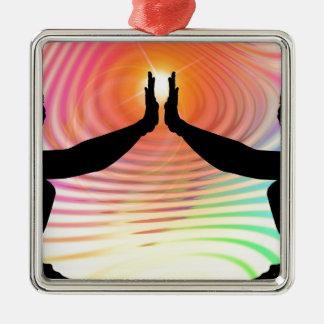 Silhouette - Transcendental bunter Hintergrund Quadratisches Silberfarbenes Ornament