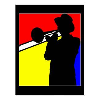 Silhouette Trombonespieler, mondrian Artkunst Postkarte