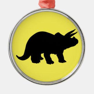 Silhouette von Triceratops Silbernes Ornament