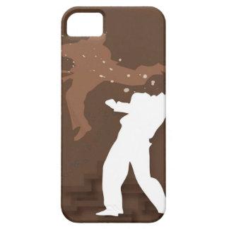 Silhouette von zwei Männern, die Karate üben iPhone 5 Etui