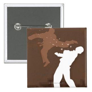 Silhouette von zwei Männern, die Karate üben Quadratischer Button 5,1 Cm