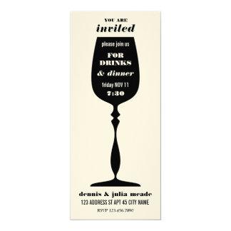 Silhouette-Wein-Glas-Abendessen-Party laden ein 10,2 X 23,5 Cm Einladungskarte