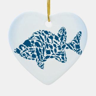Silhouettefische Keramik Herz-Ornament