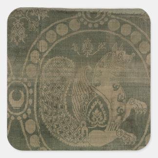 Silk Fragment, welches das 'Senmurv zeigt Quadrat-Aufkleber