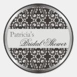 Silver Swirls Bridal Shower Favor Stickers - Black