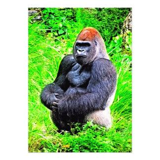 Silverback-Gorilla-Foto-Malerei Personalisierte Ankündigungskarten