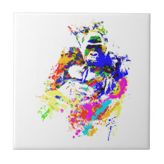 Silverback-Tiefland-Gorilla-Spritzer-Farben-Effekt Keramikfliese