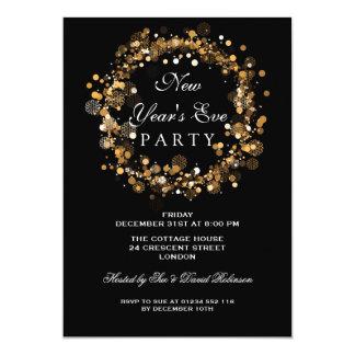 Silvester-Partyfestliches Wreath-Gold Karte