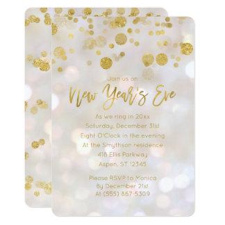 Silvesterabend-Goldschillernde Bokeh Einladung