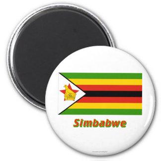 Simbabwe Flagge MIT Namen Runder Magnet 5,1 Cm