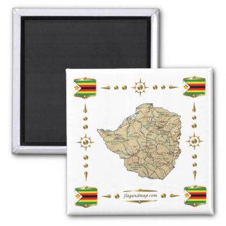 Simbabwe-Karte + Flaggen-Magnet Quadratischer Magnet