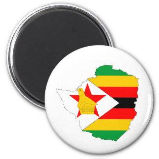 Simbabwe-Landesflaggekarte Runder Magnet 5,7 Cm