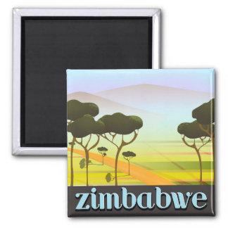 Simbabwe-Landschaftsreiseplakat Quadratischer Magnet