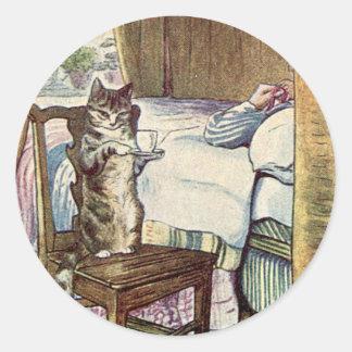 Simpkin die Katze dient Tee - Beatrix Potter Runder Aufkleber