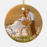 Simple Modern Couple Holiday Custom Photo Ornament
