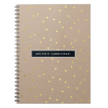 SIMPLE modern geo confetti pattern gold foil kraft Notebook