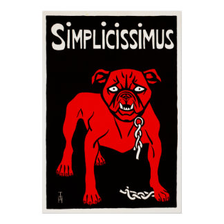 Simplicissimus - Vintager HundeCartoon Plakatdruck