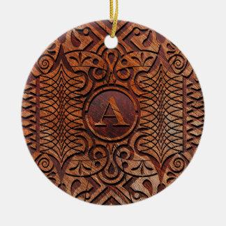 Simuliertes Holz, das Monogramm A-Z ID446 schnitzt Keramik Ornament